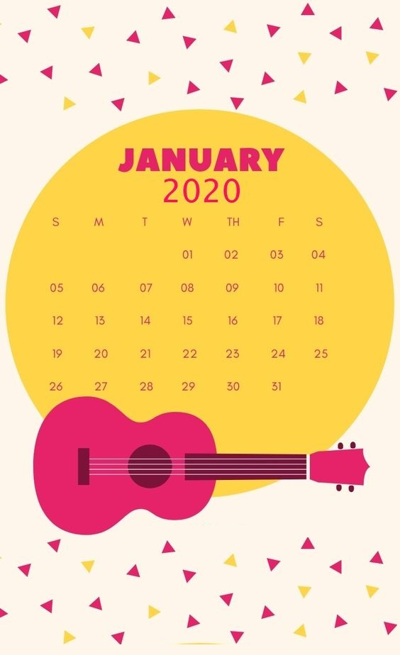 Cute January 2020 Free Printable Calendar