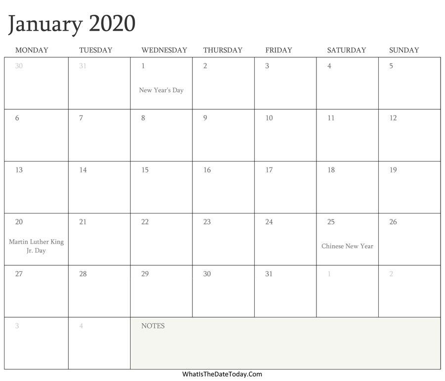 Editable Calendar For January 2020 with Notes