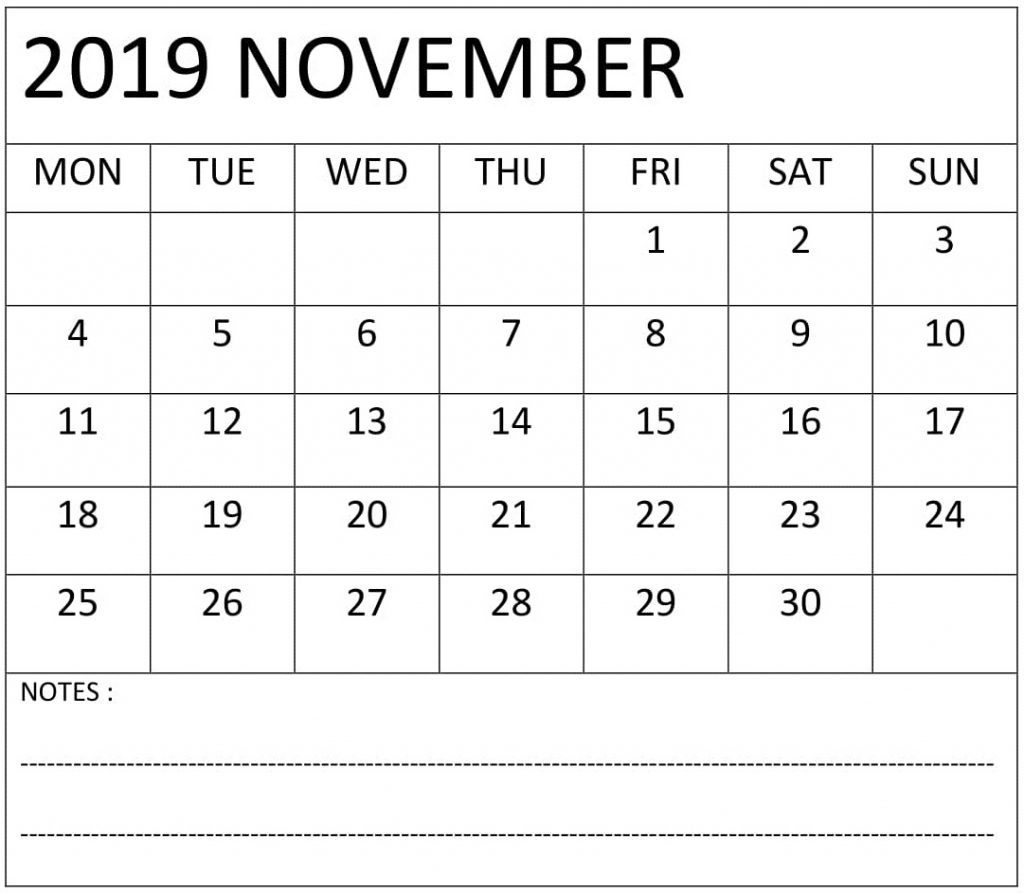 Fillable Calendar 2019 November with Notes
