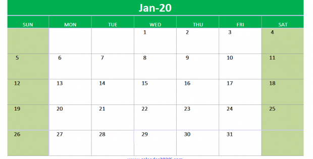 Fillable Calendar For January 2020 Printable
