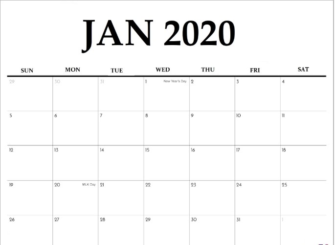 January 2020 Calendar Fillable