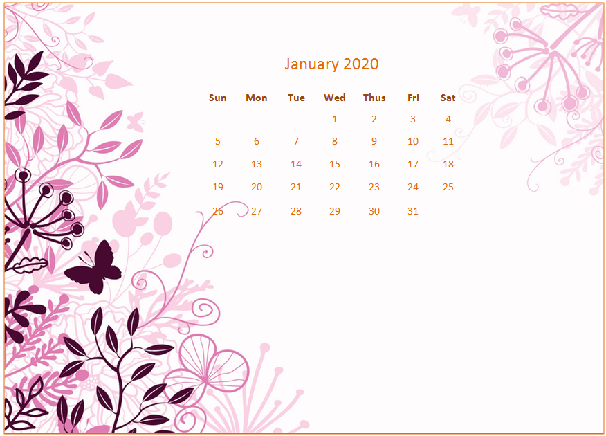 January 2020 Desktop Calendar Wallpaper