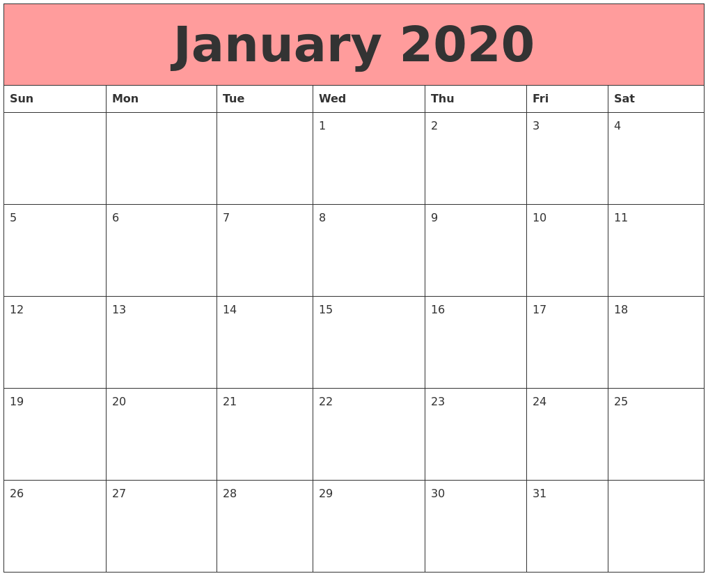 January 2020 Fillable Calendar Template