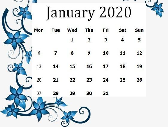 Printable Cute January 2020 Calendar Wall Design