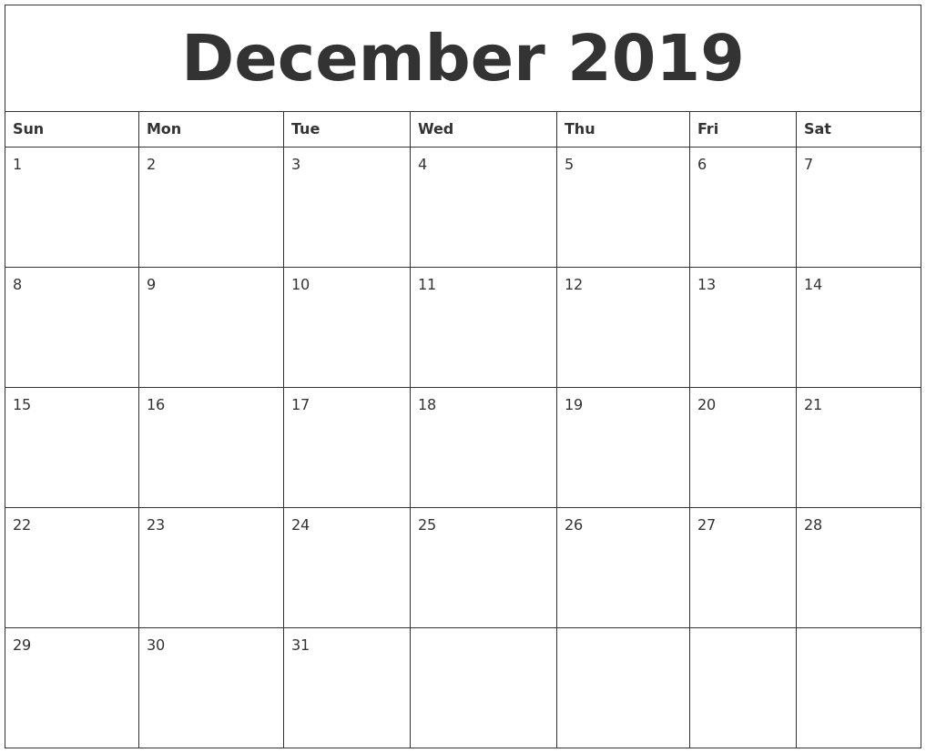 fillable calendar december 2019