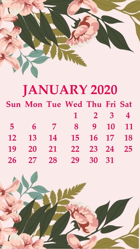 january 2020 calendar wallpaper