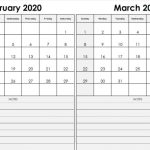 2 month February March 2020 Calendar Free Printable Template