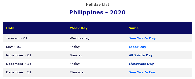 january 2020 holidays philippines