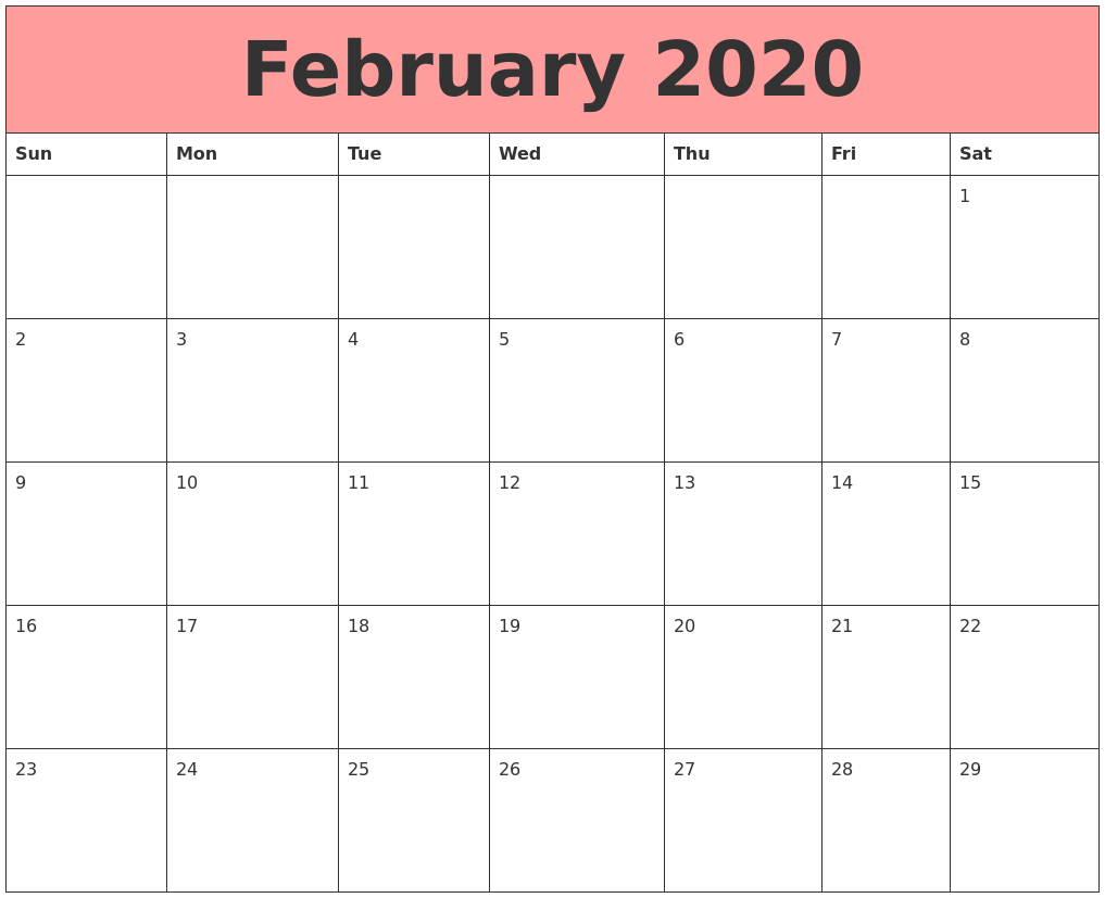 Cute February 2020 Calendar Printable For Students