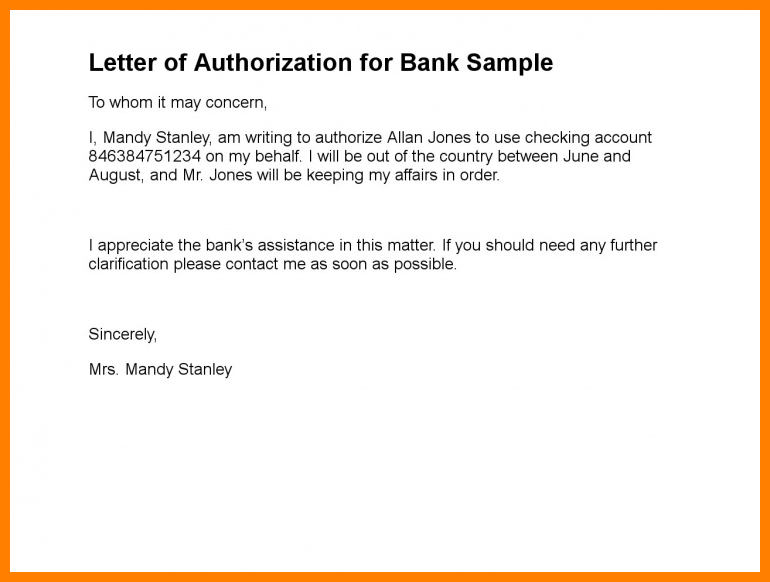 Authorization Letter For Cheque