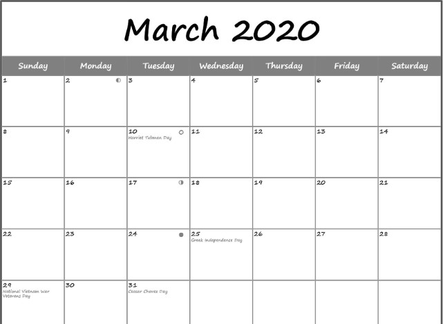 March 2020 Moon Phase Calendar With USA Holidays