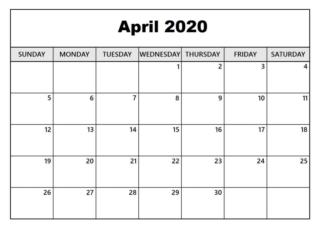 Free april 2020 template