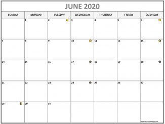 June 2020 Lunar Calendar Moon Phases Template
