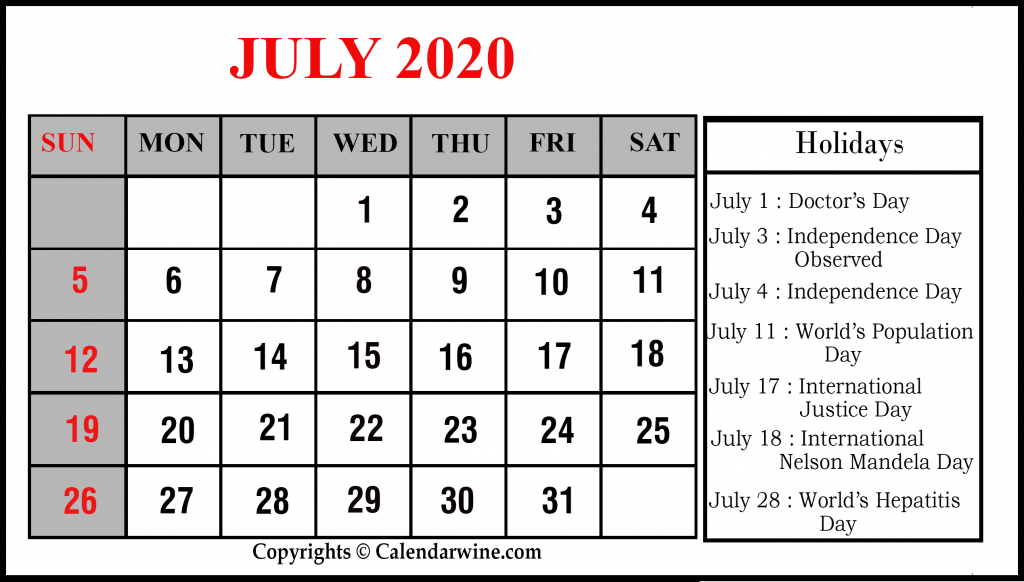 July 2020 Calendar Holidays