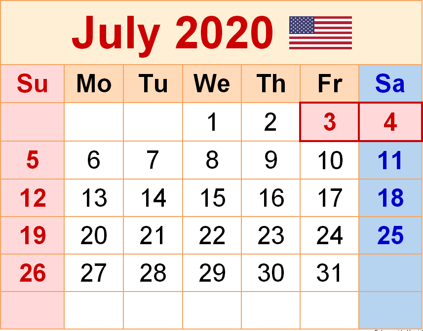 July 2020 US Holidays Calendar