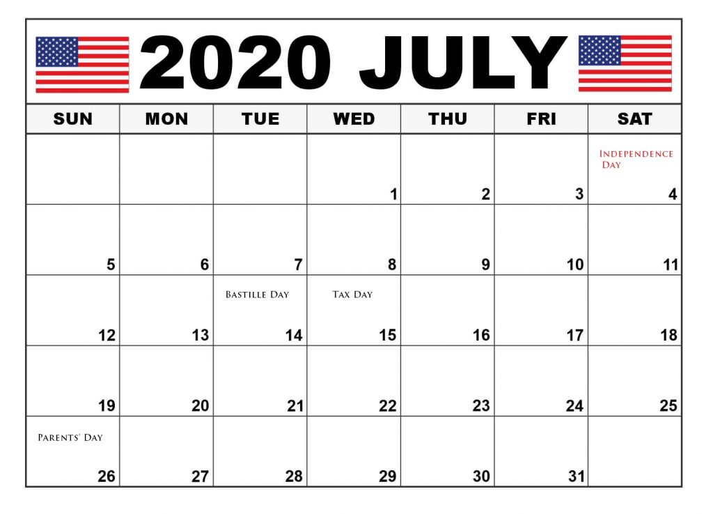 July 2020 Holidays USA Calendar