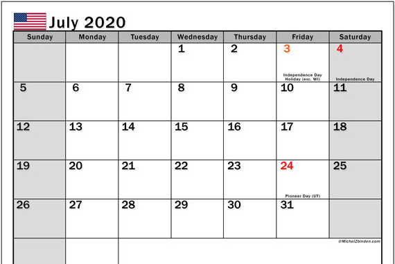 July 2020 Calendar Holidays USA